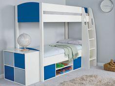 Stompa UnoS Storage Bunk Bed - Blue Panels
