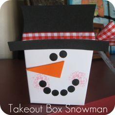 Takeout box snowman