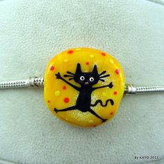 THE-TUMBLEWEED-byKAYO-handmade-CRAZY-CAT-lampwork-glass-charm-BRACELET-bead-SRA