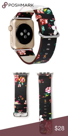 ✨Apple Watch Band Black Black Floral Painted Leather Watch Band Strap for Apple Watch Flower Design Wrist Watch Bracelet for iwatch I212 1)Suitable for:iwatch 38/42mm 2)Material:Genuine Leather 3)Length for 38mm:11.5-15.5cm Length for 42mm:12-17.5cm. ❌Watch not included kate spade Accessories Watches