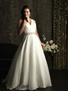Obsessed. Love the v-neck, love the beading at the waist, LOVELOVELOVE the buttons down the back. Allure Bridals: Style: W300