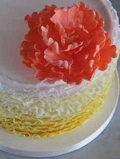 Small ombre ruffle Wedding Cake!