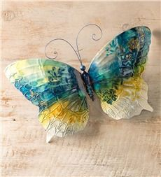 Hand Painted Metal Butterfly Wall Art