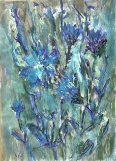 CHICORY by Mihaela Marilena Chitac. Medium: Coloured ink on paper; Paintings, Ink, Artwork, Artist, Color, Art Work, Colour, Work Of Art, Paint