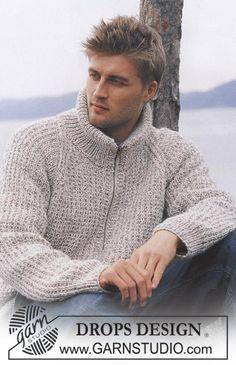 Richard - DROPS herrejakke med raglan og lynlås - Free pattern by DROPS Design Mens Knitted Cardigan, Sweater Knitting Patterns, Knit Patterns, Free Knitting, Men Sweater, Raglan Pullover, Varsity Sweater, Drops Design, Drops Patterns