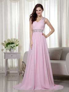 Beaded Baby Pink One Shoulder Train Ruched Homecoming Dresses