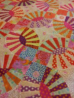 """The Pickle Dish Quilt I made. The fabric and the design are by Kaffe Fassett. It's from his book """"Quilt Romance."""" I made this quilt in 2012. I had quite the challenge finding all the exact fabrics, but I found them thanks to ebay, amazon and the internet!"""