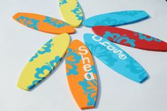 7 Surfboard Party Favors Beach Luau Decoration 6.5 by Seagypsys, $35.00