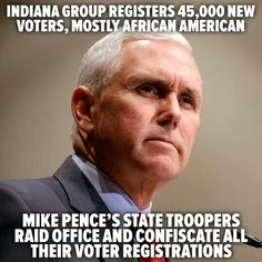 confiscated voter registration- Indiana- Pence Rumor has it. Donald Trump, Voter Registration, Trump Pence, Mike Pence, Republican Party, Before Us, Thinking Of You, Presidents, Humor