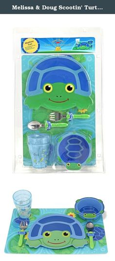 Melissa & Doug Scootin' Turtle Mealtime Set. Set the table with this turtle-themed meal set and watch your little nature-lover savor a healthy meal or snack. Scootin` Turtle will be smiling when your child uses the kid-sized utensils and joins `the clean plate club`! The double-sided pond-themed placemat makes it fun and easy to set the table with a turtle-shaped plate and bowl, and sparkly shaky cup.