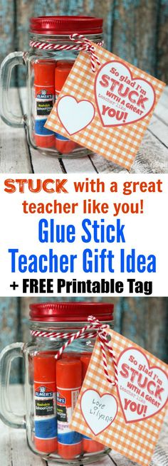 Glue Stick STUCK with a Great Teacher Gift Idea + FREE Printable Tag