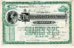 Consolidated Electric Storage Company signed by Pedro G. Salom - New Jersey, 1881 Dollar Sign, One Dollar, New Jersey, Vignettes, Electric, Money, Signs, Storage, Purse Storage