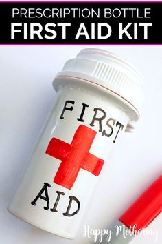 Do you wish you had a mini first aid kit with essentials that's easy to carry in your purse, diaper bag or backpack? Learn how to make a simple one from a repurposed prescription bottle in this fun DIY craft idea. Great way to upcycle instead of recycle if you're looking for old prescription bottle uses. Ideal to carry on short hikes or keep in the car for park days. #howto #diy #crafts #easycrafts #firstaidkit #firstaid #parenting #prescriptionbottles #upcycled #repurposed #diyfirstaidkit