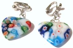 Handcrafted  Silver Plated Clips  Clip On Earrings  Glass by ADKOR, $7.50