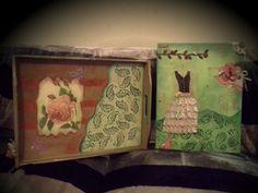 ensemble d'un très joli tableau canvas 3D shappy chic - mixed media et un plateau en bois : Accessoires de maison par les-souvenirs