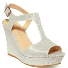 213d9c9e08ed1 Candelas Silver Sparkly Wedge Adjustable buckle. T strap with peep toe  design. Very comfortable