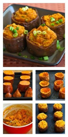 Recipe for Twice-Baked Sweet Potato Cups with Sour Cream, Chipotle, and Lime; these are delicious for a holiday side dish but also make a wonderful #MeatlessMonday main dish! [from KalynsKitchen.com] #SweetPotatoes