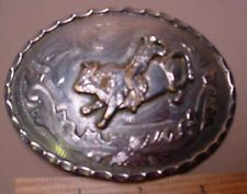 Old GREAT LOOKING Worn Cowboy on Bucking Bull ALPACA Belt Buckle MAKE OFFER $45.00 or Best Offer Free shipping