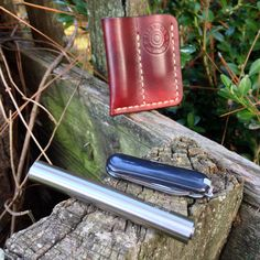 Cajun Leather Works Brown Custom EDC Cajun Pocket Protector Pocket Knife LED Flashlight and Handmade Leather Case Free Shipping In The USA by CajunLeatherWorks on Etsy