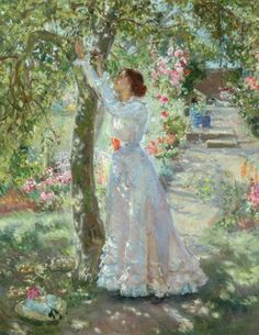 The Garden - painting by Dame Ethel Walker Classic Paintings, Your Paintings, Beautiful Paintings, Flower Paintings, Victorian Paintings, Victorian Art, Images Vintage, Vintage Art, Garden Painting