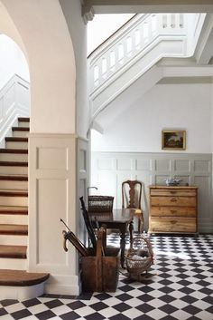 The Staircase Is Oh So Grand Wainscoting Beautiful Black And White Checkered Floor Classic I Love Touches Of Warm Wood