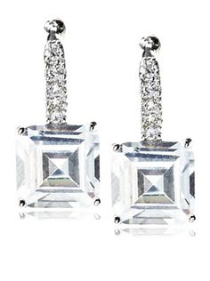 64% OFF CZ by Kenneth Jay Lane Princess Cut Pave Classic Earrings