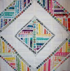 Selvedge quilt block ... such a good idea. Love all the data and memories and little info circles...