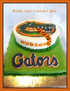 Florida Gator cake, Gator having a Tiger for a snack!