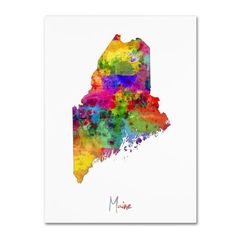 Trademark Fine Art Maine Map Canvas Art by Michael Tompsett, Size: 18 x 24, Multicolor