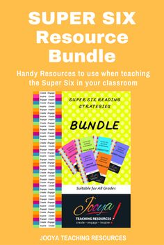 Teaching the Super Six? Try this $$$ saving bundle with fantastic resources for each of the Super Six Strategies. The resources are designed to be used with any text you are teaching. Look like a Super Six Super Star in your staff room!!!!