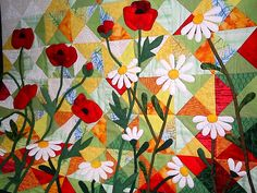 Poppies and daisy applique wallhanging