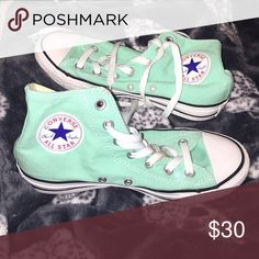 High top converse Tiffany blue converse. Gently worn. Worn a total of 2 times. Little mud on the laces, easily can be washed out. Converse Shoes Sneakers