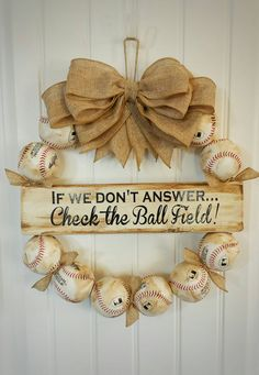 Coolest baseball wreath ever!! Check out this item in my Etsy shop https://www.etsy.com/listing/288648845/baseball-wreath-with-burlap-bow-perfect