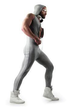 Shop for mens hooded onesie on Differio. Browse our latest long jumpsuits, striped jumpsuits, sleeveless onesies and more. See mens onesies and jumpsuits here! Gym Warm Up, Mens Style Looks, Mens Onesie, Sport Fashion, Mens Fashion, Sport Mode, Designer Jumpsuits, Men Closet, Male Fitness