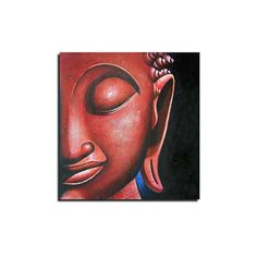 [$86.99] Hand-painted Abstract Southeast Asia Red Buddha Oil Painting Stretched Frame - Free Shipping