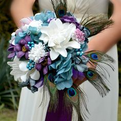 Wedding bouquet Tintina  and boutonniere by Marcellinewedding on Etsy