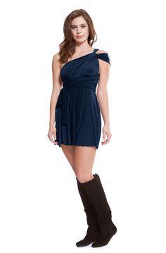 Sakura Navy Blue Mini Convertible Dress from Henkaa