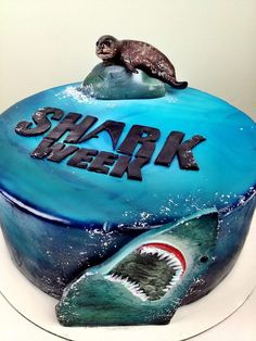 Shark Week Cake here E Wilkerson Shark Week Drinks, Shark Week Crafts, Save The Sharks, Shark Cake, Cake Factory, Shark Party, Cupcake Cakes, Kid Cakes, Cupcakes