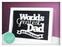 SLS Creative Shop - World's Greatest Dad papercut #papercut #slscreative #fathersday  https://www.etsy.com/uk/listing/186845501/worlds-greatest-dad-fathers-day-gift-sls?ref=shop_home_active_6