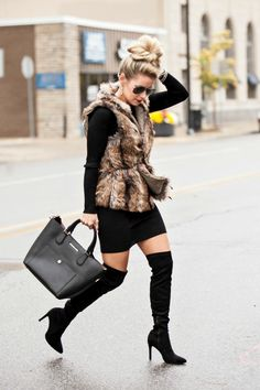 Style inspiration: fux fur vest, belted and layered over long-sleeve sweater, leather leggings, and over-the-knee boots, and topped off with floppy hat