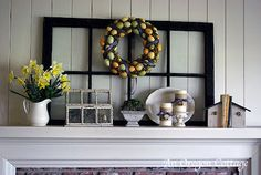 Since I loved my winter mantel so much, I haven't wanted to change it out before now. The daffodils started blooming in our yard this last week and that prompted me to finally give the mantel a new look. I kept the background black window, shopped the house, and did a quick and simple craft …