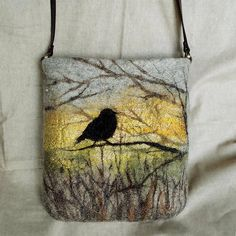 Bag shoulder Felted bag Crossbody bag fibre art  gift  leather