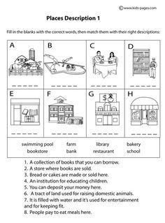 Place Descriptions 1 B&W worksheets