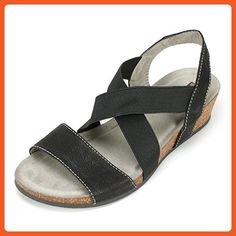 White Mountain Women's Carlisa Wedge Sandal, Black, 9 M US - Sandals for women (*Amazon Partner-Link)