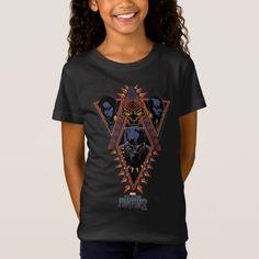 Black Panther Girl's Wakandan Warriors Tribal T-shirt, Size: Youth XS, Kids Unisex Nakia Black Panther, Marvel Store, Erik Killmonger, Beauty Quotes For Women, Black Panther Marvel, Diy Fashion, Fitness Models, T Shirts For Women, Warriors