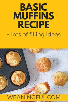 Here is a baby & toddler muffin recipe great for baby led weaning or introducing solids and finger foods. It can be made quite quickly and can be filled with lots of things including fruit, veggies or cheese. Healthy Muffins For Kids, Healthy Muffin Recipes, Fun Snacks For Kids, Healthy Meals For Kids, Baby Food Recipes, Baby Led Weaning First Foods, Baby First Foods, Baby Weaning, Baby Finger Foods