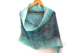 felted silk scarf, turquoise