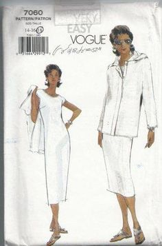 UNCUT Vogue 7060 Dress and Jacket pattern sizes by SewReallyCute, $10.00