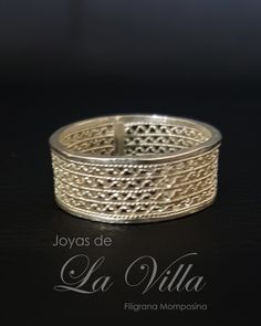 Argolla sencilla tejida en zig zag (talla 8). Filigrana Momposina Plata Ley 950 - comprar online