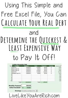 Love this free calculator, it is super helpful! It shows how to Calculate Your Real Debt and the Quickest-Least Expensive Way to Pay It Off